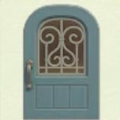 みずいろのアイアングリルなドア