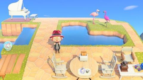 島クリエイトで作成したハートの池とカフェ