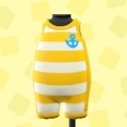 ボーダーの マリンスーツ黄色