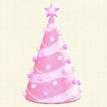 ツリーのイルミネーションピンク