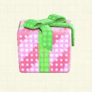 プレゼントのイルミネーションピンク×グリーンリボン