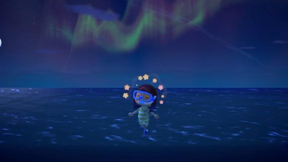 海上で見るオーロラ