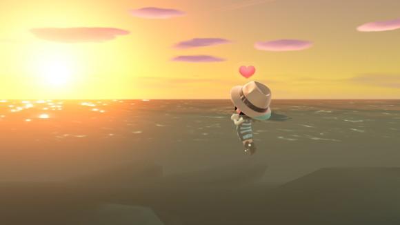 海の上で見る夕日