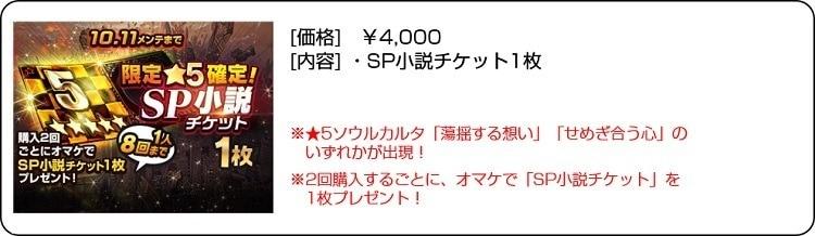 限定星5確定SP小説チケット