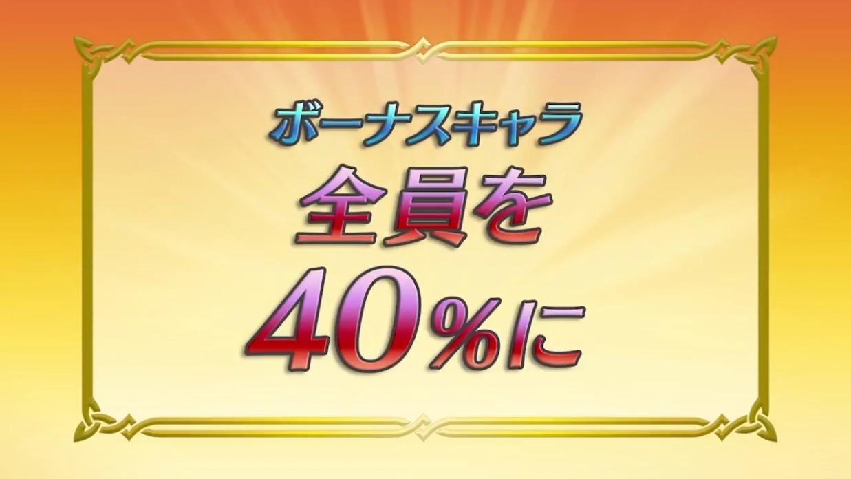 ボーナスキャラを全て40%に!