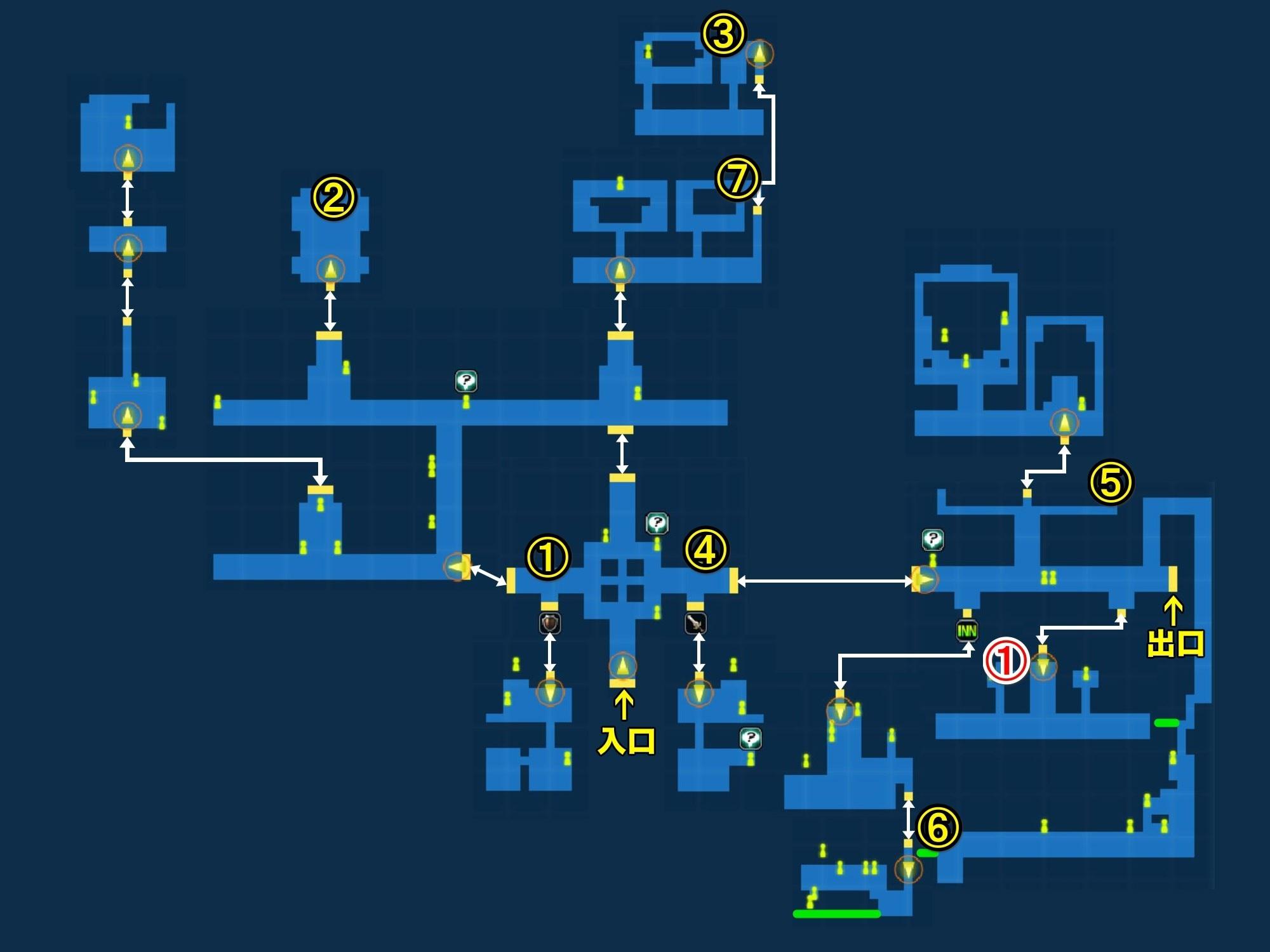 修練の街ダンデリオ宝箱マップ