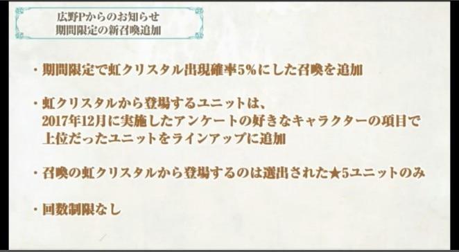 虹クリスタル5%ガチャお知らせ