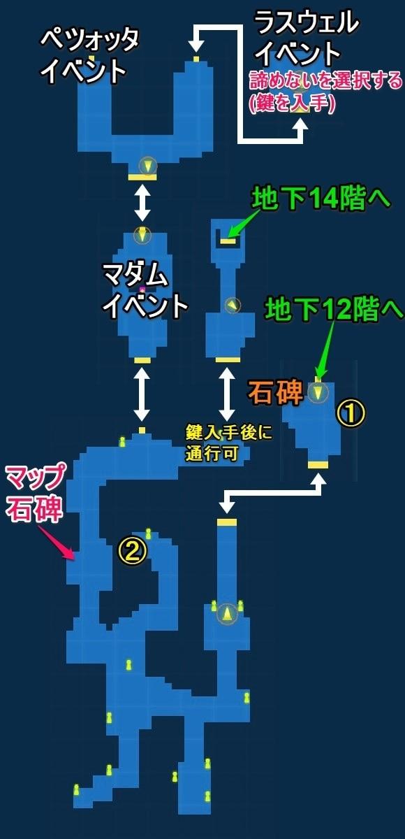 地下13階宝箱マップ