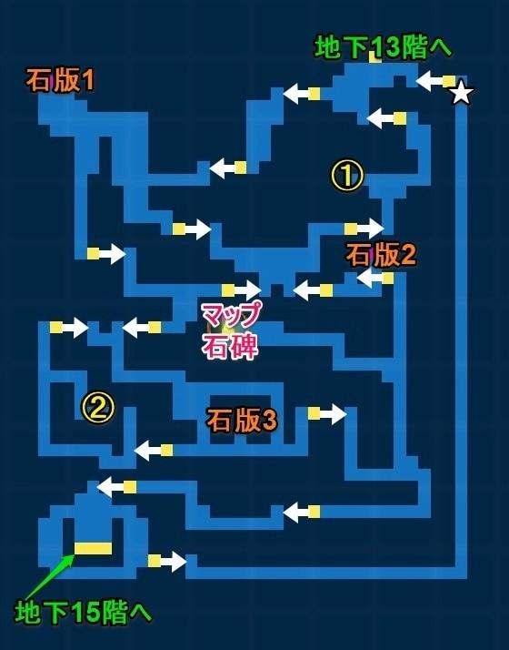 地下14階宝箱マップ