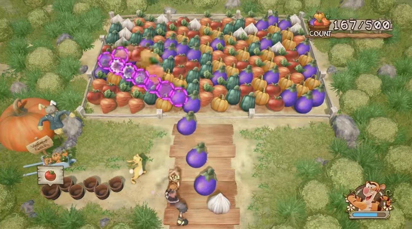 プーさんワールドのフルーツをぶつけるミニゲーム