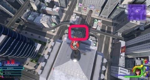 アトラクションフローで登れるビルの頂上(7の左手にあるビル)