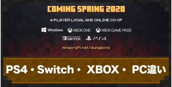 PS4版・Switch版・XBOX版・PC版の違い