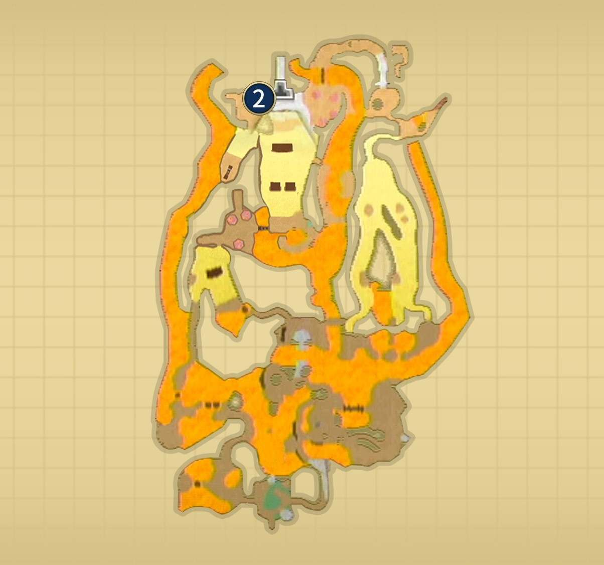 オルディン火山 水晶の位置