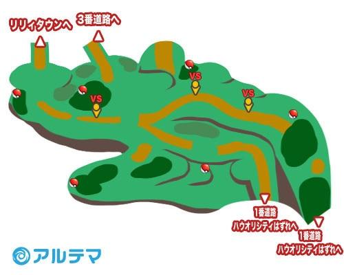 1番道路の出現ポケモンとマップ/入手道具
