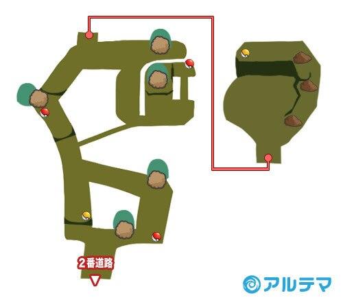 茂みの洞窟(イリマ試練)の出現ポケモンとマップ/入手道具