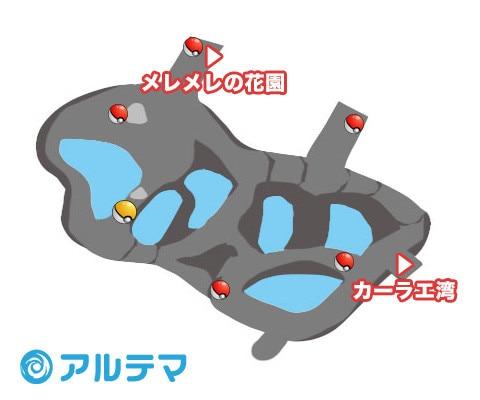 海繋ぎの洞穴の出現ポケモンとマップ/入手道具