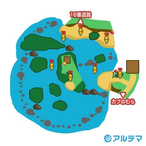 15番水道(エーテルハウス)の出現ポケモンとマップ/入手道具