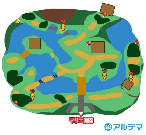 マリエ庭園の出現ポケモンとマップ/入手道具